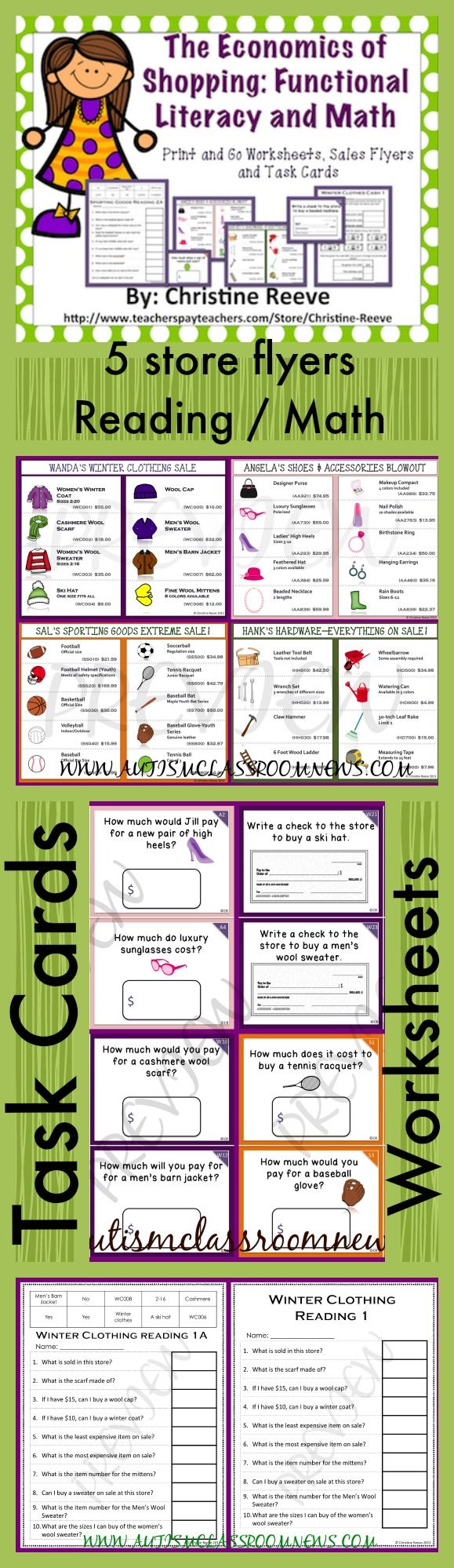 This is an easy print-and-go set of math / shopping activities for students working on money skills in elementary school or life skills classes. Put the sales flyers in a page protector, print out the worksheets, and either cut out the task cards for single use or put them in a photo album or laminate for re-use.