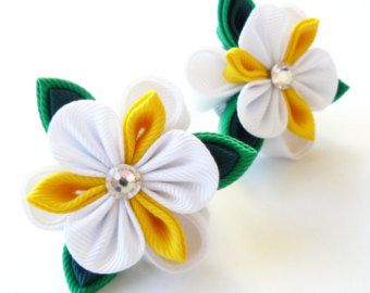 Kanzashi fabric flowers. Daysies set of 3 pieces white by JuLVa