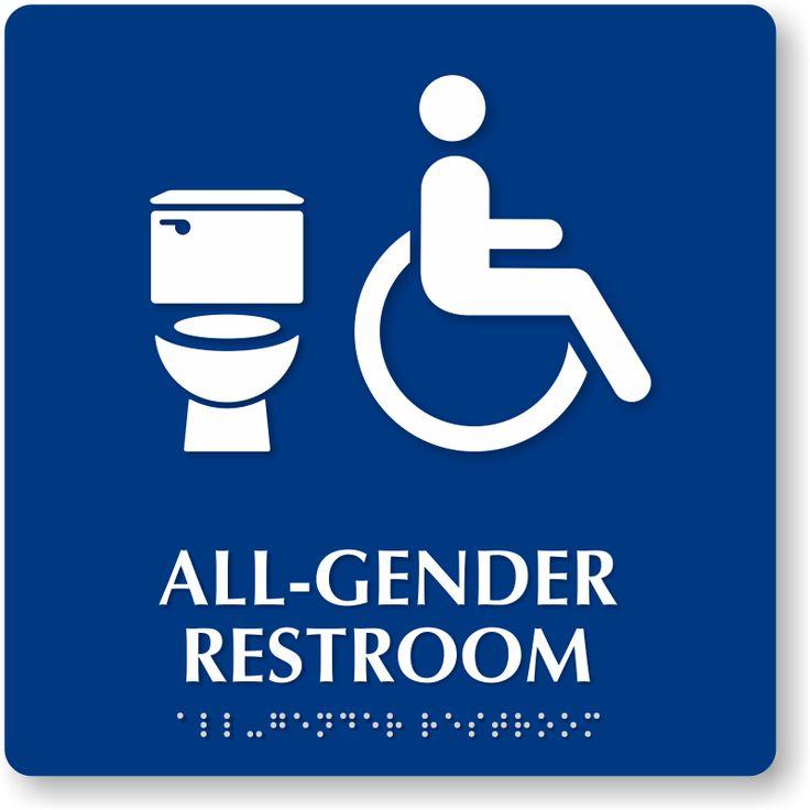 All Gender Restroom Braille Sign, Handicap and Toilet Symbol, SKU ...