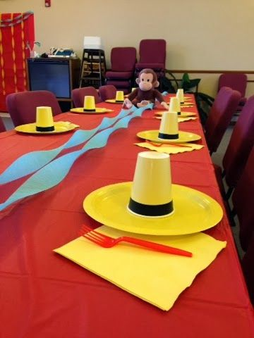 Curious George Birthday Party - love the yellow hat cup/plate idea!