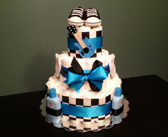 Custom Personalized 65 DIAPER CAKE Rock And Roll PUNK Guitar Theme Bright Blue Black Baby Shower Gift Decoration Centerpiece Any Colors Boy