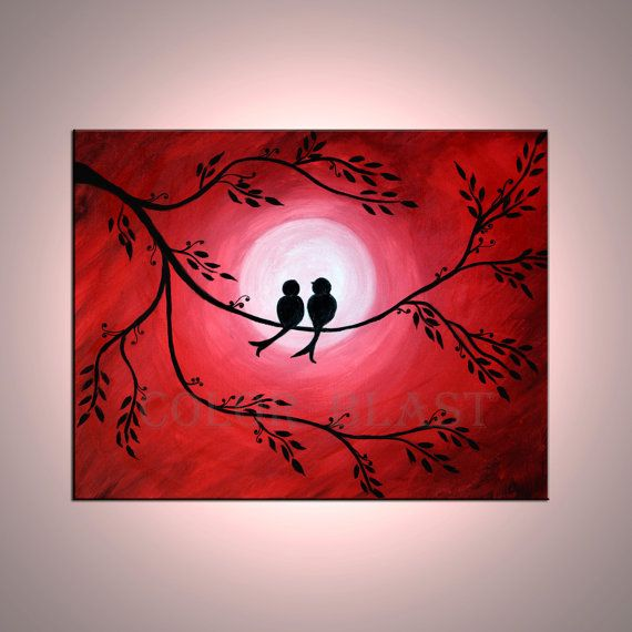 Love is in the air- Love Birds in moon light.