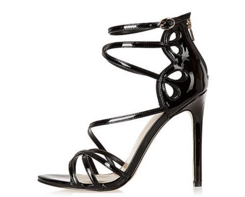 Black Patent Caged Sandals By River Island for Women - UK 8 US 10 EUR 41