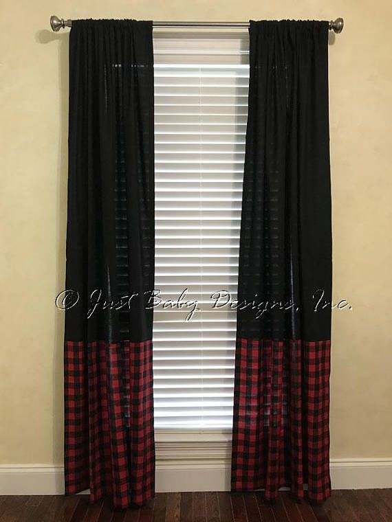 Curtain Panels In Solid Black With Red And Black Plaid Price Is