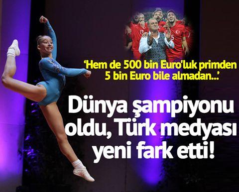 Kimileri 500 bin Euro alır; hiçbir şey yapamadan yurda geri döner, tüm medya onları konuşur... Kimileri '5 bin Euro bile almadan' Dünya şampiyonu olur ama medya onu 3 hafta sonra fark eder... Sosyal medya aerobik cimnastikte Dünya Şampiyonu olan Ayşe Begüm Onbaşı'yı konuşuyor!