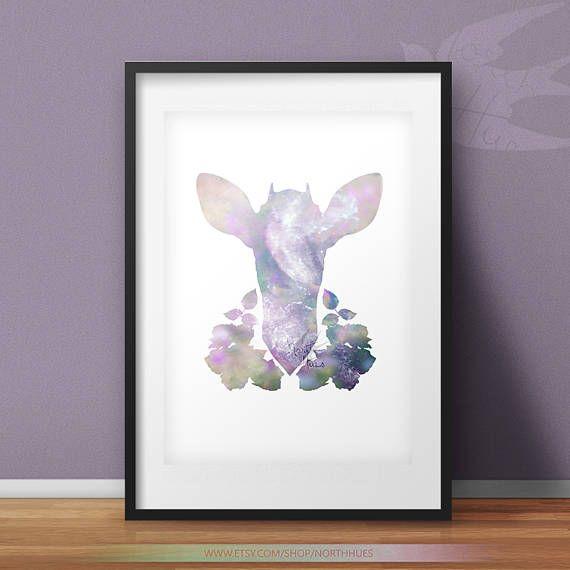 Floral Antelope  Galaxy Antelope Design  Pastel Wall Art
