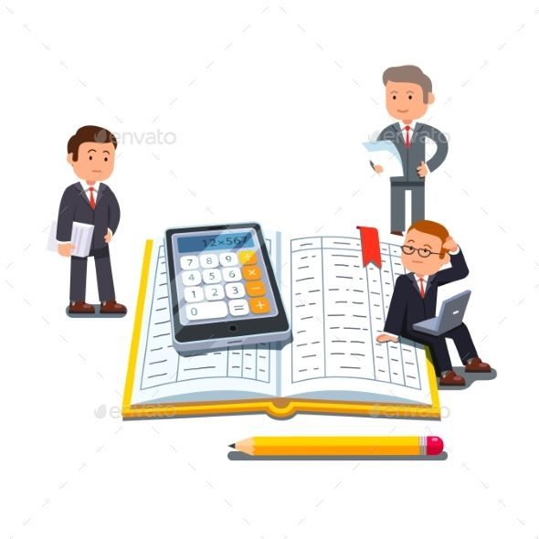 Little Business People Near Big Accounting Book