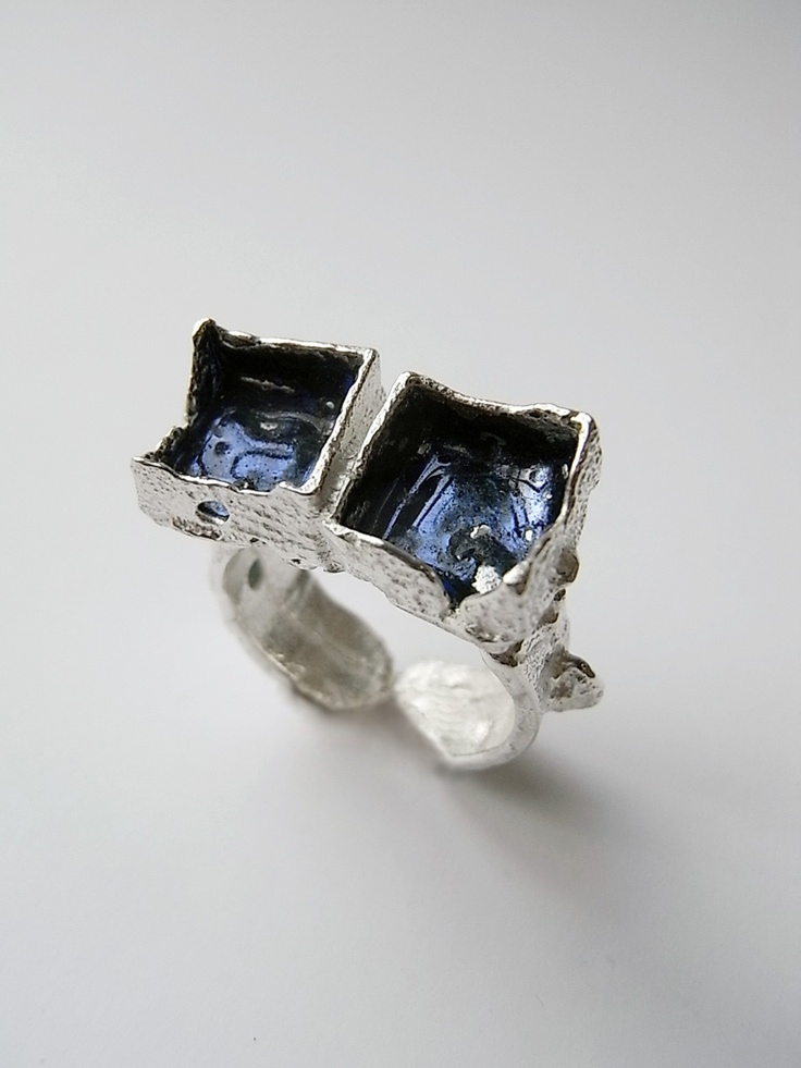 freeform ring in silver & blue enamel by Kelvin J Birk | Rings and ...