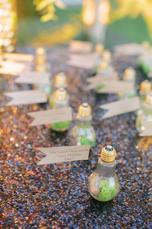 craft ideas for wedding place cards%0A Lightbulb Place Cards Reception Ideas