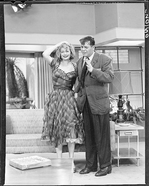 """On the Set of """"I Love Lucy""""  Lucille Ball and Desi Arnaz while filming the 1955 """"I Love Lucy"""" episode titled, """"The Hedda Hopper Story"""""""