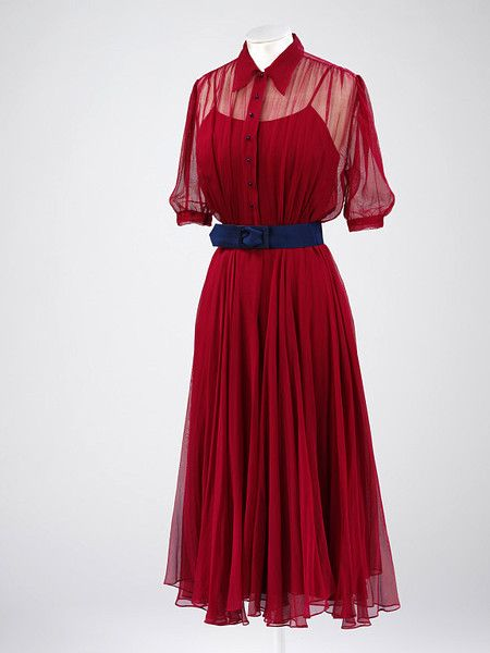 Red Silk Gauze Wedding Dress Worn by Monica Maurice, British, 1938.