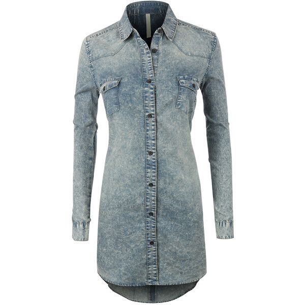 LE3NO Womens Classic Loose Fit Chambray Jean Denim Shirt Dress ($33) ❤ liked on Polyvore featuring dresses, shirt-dress, long shirt dress, denim chambray dress, loose fitting dresses and blue dress