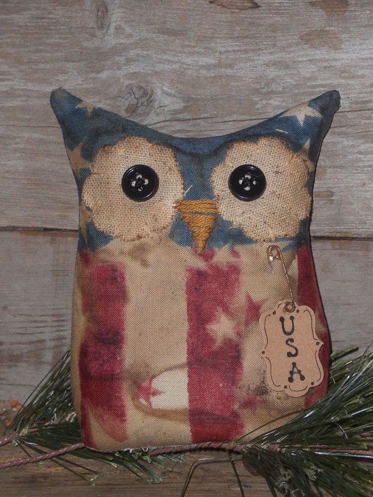 Primitive USA Patriotic Red White Blue Americana OWL Bowl Filler Ornie Ornament  #Primitive #ChooseMoosePrimitiveDesigns