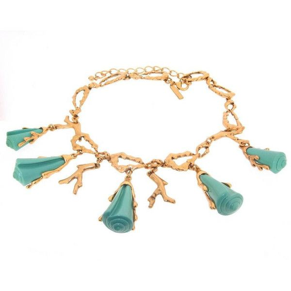 Oscar De La Renta Turquoise Coral Effect Gold Statement Necklace ($640) ❤ liked on Polyvore featuring jewelry, necklaces, turquoise gold necklace, coral statement necklace, adjustable chain necklace, yellow gold chain necklace and turquoise jewelry
