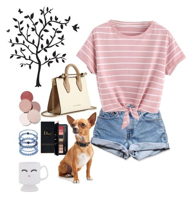 """""""Realistic Barbie"""" by courtneybentley ❤ liked on Polyvore featuring Levi's, Sparrow & Wren, Avenue, LunatiCK Cosmetic Labs, Estée Lauder, Godinger and Strathberry"""