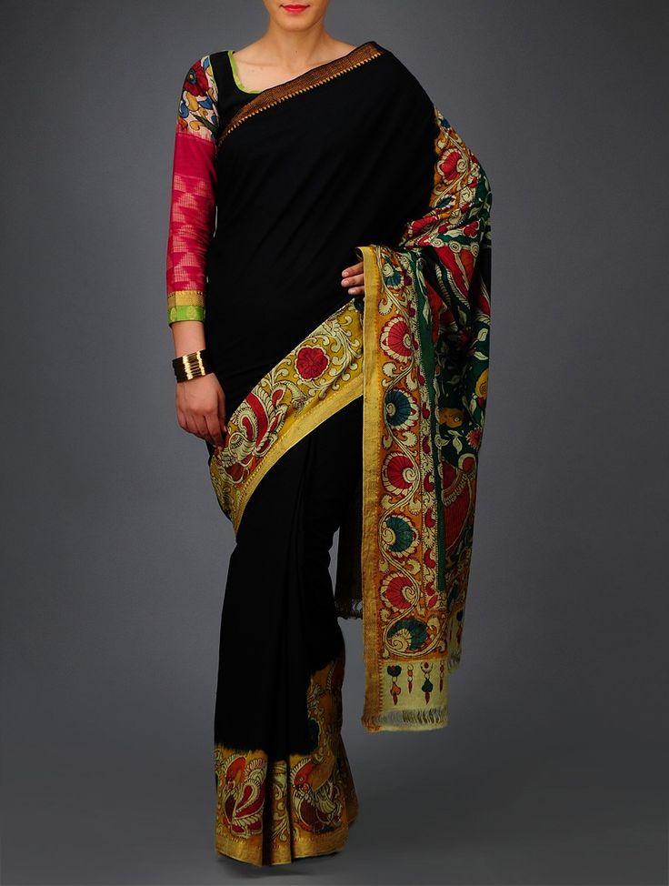 Buy Green Red Yellow Peacock Kalamkari Mangalgiri Cotton Saree Sarees Printed Online at Jaypore.com