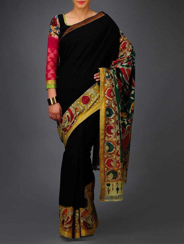 Buy Green Red Yellow Peacock Kalamkari Mangalgiri Cotton Saree Sarees Printed Online at Jaypore.com