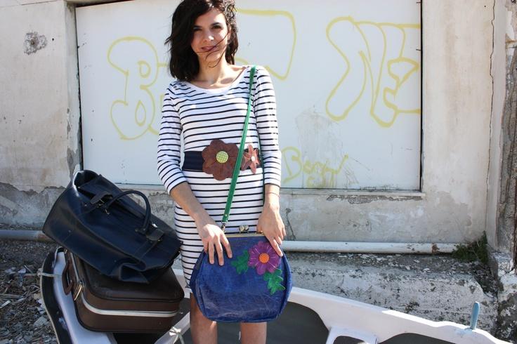 leather flower belt and bag.