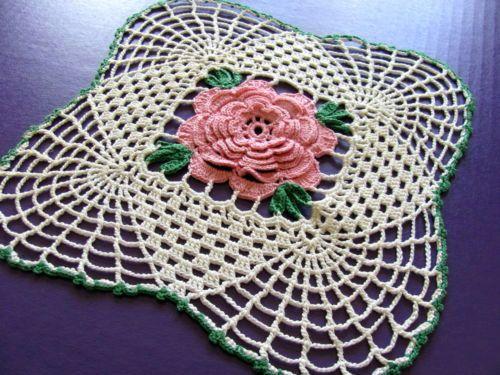 "Vintage Handmade Crochet Doily Pink Rose 9"" x 9"" 1950'S | eBay"