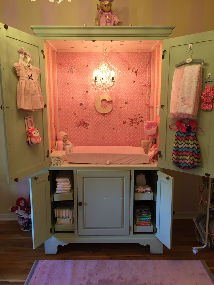 Precious baby girl princess changing station waiting for Grand baby Claire arriving December 21,2015 ! Made out of an old 90's entertainment center!