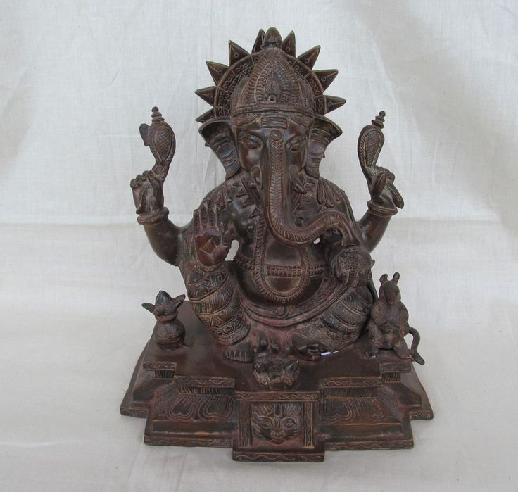 Vintage Look Brass Bronze Hindu Tribal Elephant God Ganesh Statue Figure 1257