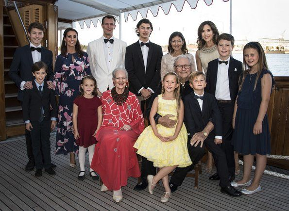 Newmyroyals: Prince Nikolai's 18th Birthday, Dannebrog Yacht, August 28, 2017-Prince Nikolai and the Danish Royals celebrated his 18th birthday; standing l-r Prince Felix, Prince Henrik, Princess Marie, Princess Athena, Prince Joachim, Prince Nikolai, Countess Alexandra of Frederiksborg, Crown Princess Mary, Prince Christian, Princess Isabella; seated-Queen Margrethe, Prince Henrik with Princess Josephine and Prince Vincent; Crown Prince Frederik is missing.