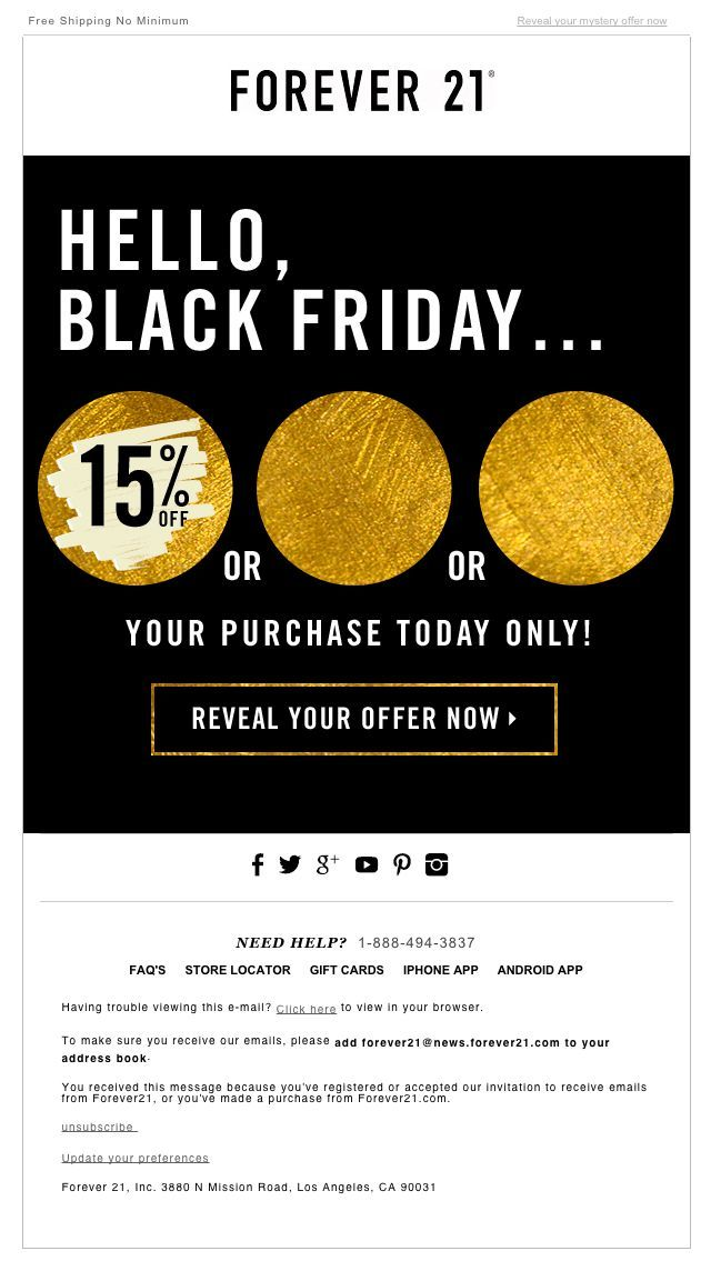 "Forever 21 Black Friday email design with animated .gif - Nov. 28, 2014 - ""Mystery Sale – How Much Will You Save?‏"":"