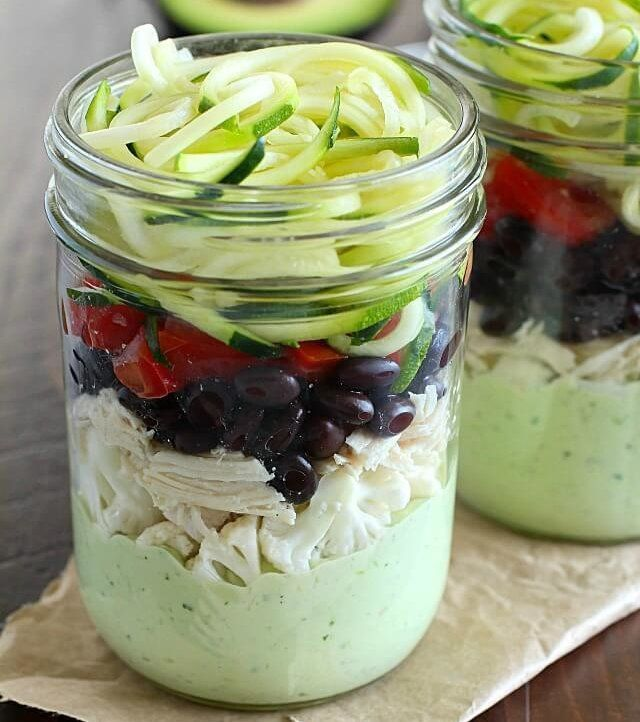 Southwest Zucchini Noodle Mason Jar Salad with Avocado Dressing http://www.draxe.com #health #holistic #natural