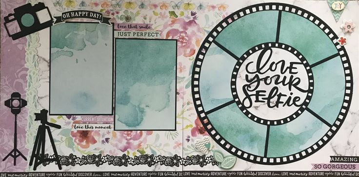 SCRAPPY HAPPY DESIGNS Kits and Premade Scrapbook Pages for sale. This layout features the beautiful Wildflowers collection by Kaisercraft