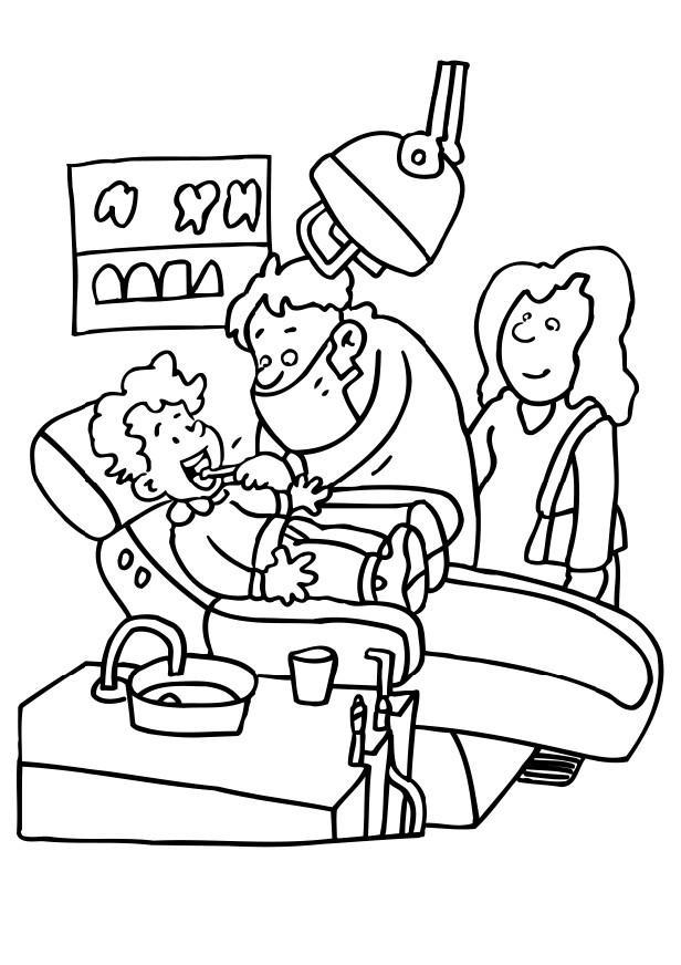 Grappige kleurplaat voor de kinderen. De tandarts aan het werk.