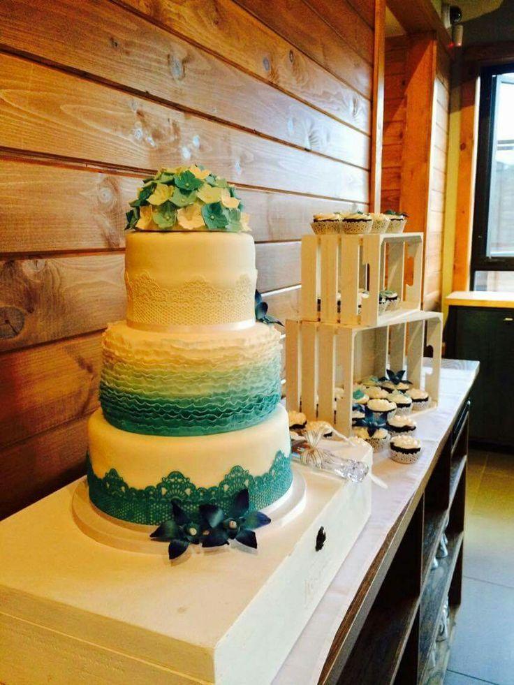 Gâteau de mariage turquoise ! Parfait!! Merci Véro! ❤