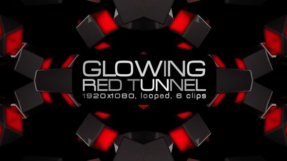 Glowing Red Tunnel Video Animation | 6 clips | Full HD 1920×1080 | Looped | Photo JPEG | Can use for VJ, club, music perfomance, party, concert, presentation | #box #disco #edm #glow #loops #music #party #rave #red #shine #techno #tron #tunnel  #vj