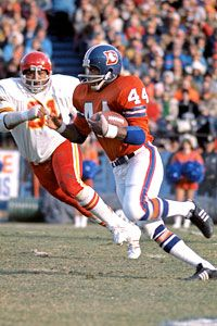 """Floyd Little, running back, Denver Broncos. During his time in the NFL, he was known as """"The Franchise."""""""