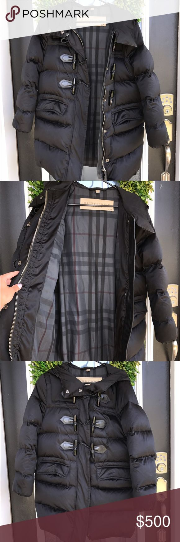 Burberry Britt Men's Puffer Coat Burberry Britt Men's Puffer Coat in black. Has check pattern on inside. Size M. This has been worn twice over the winter but great condition. This coat is filled with down. There is one area on the left inside pocket where there is a rip in the material. This is NOT noticeable as it is inside the pocket. Can easily be fixed. Ink mark on Burberry tag! Beautiful Jacket! 💕 Burberry Jackets & Coats Puffers
