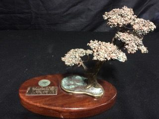 1980 GOLF TOURNAMENT TROPHY WITH A FIGURAL BRASS TORREY PINE TREE. MEASURES 7H X 9W AND HAS A BIT OF VERDIGRIS PRESENT.