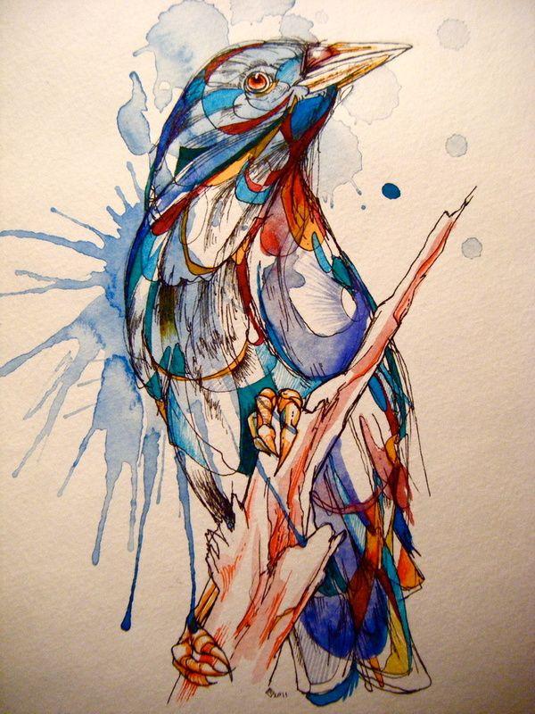 Abby Diamond- ink and watercolors: Watercolor Bird, Diamonds, Watercolors, Art, Illustration, Water Color, Tattoo, Birds