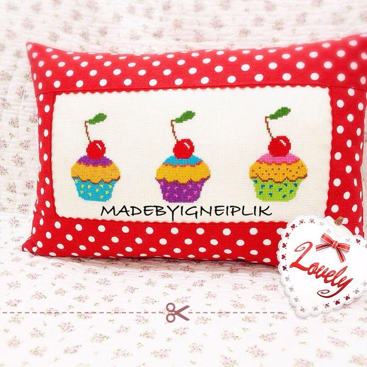Cross stitch cupcake pillow
