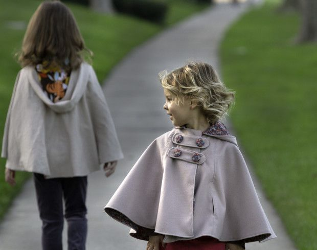 Sewing pattern: Child's hooded, double-breasted cape from Gotosew blog. #capelet #outerwear #poncho