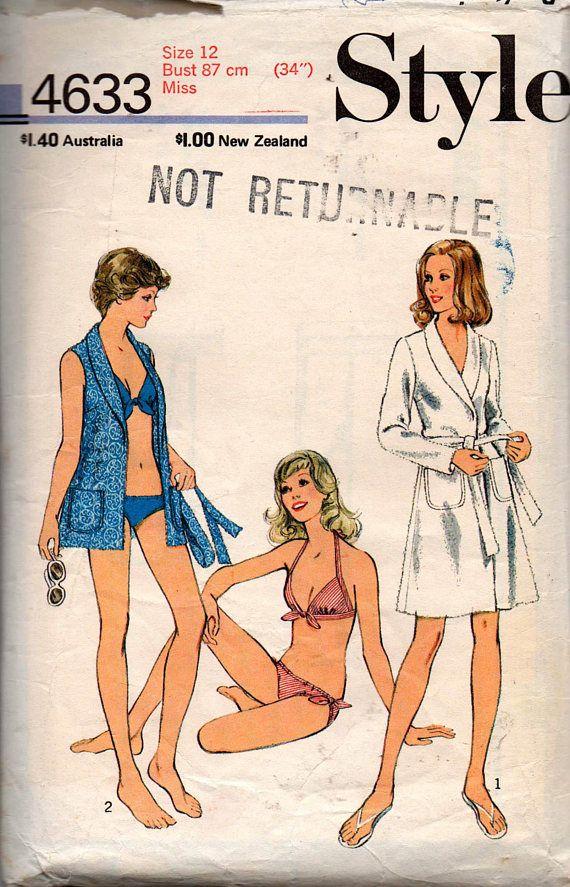 Style 4633 Womens Bikini & Beach Wrap Cover Up 70s Vintage