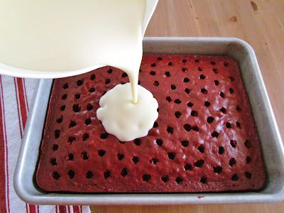 Red Velvet Poke Cake with cheesecake pudding. Oh my word!