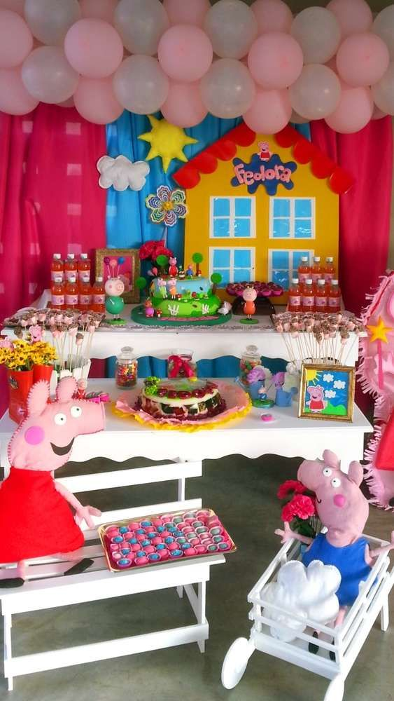 Amazing Peppa Pig birthday party dessert table! See more party planning ideas at CatchMyParty.com!