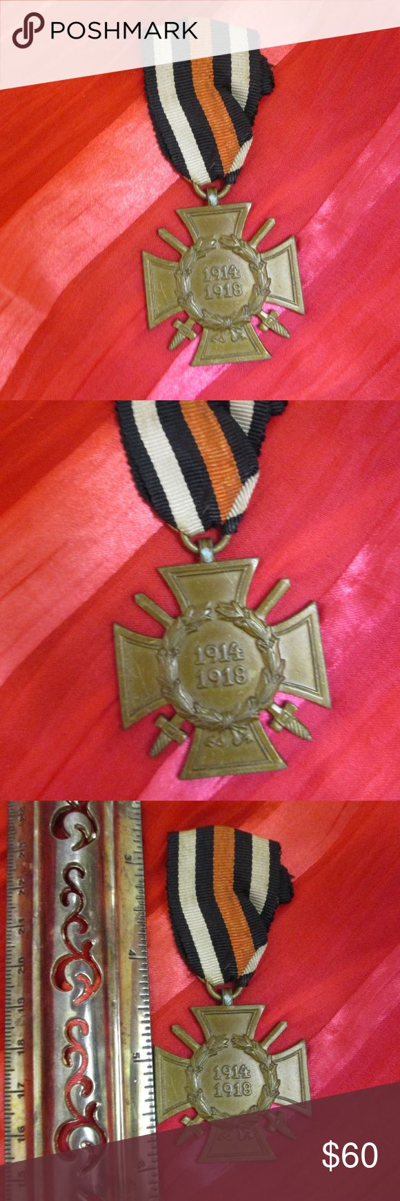 """Germany WWI Hindenburg Cross Combatant Medal The Ehrenkreuz für Frontkämpfer (Honor Cross for Combatants - or the Hindenburg Cross). WW1 German military medal War Cross of Honor 1914 - 1918,  with swords and laurel wreath. Maker marked """" A&S""""  (A&S: Assmann & Söhne, Ludenscheid). All original. The Honour Cross was worn suspended from a ribbon with black edge stripes, two white stripes, two black stripes and a red stripe in the middle between them. Excellent condition. 2 1/4"""" x 1 1/2""""  15.5g…"""