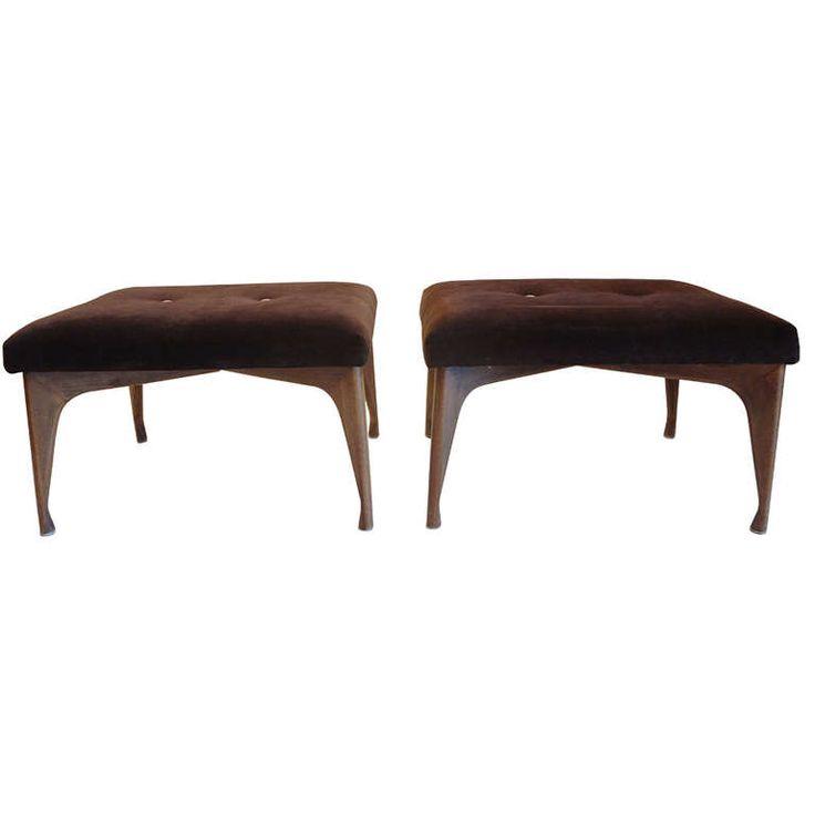 Pair Of Mid Century Modern Upholstered Stools