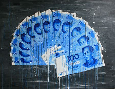 Blue RMB fan 2013  98 x 128cm Acrylic on canvas