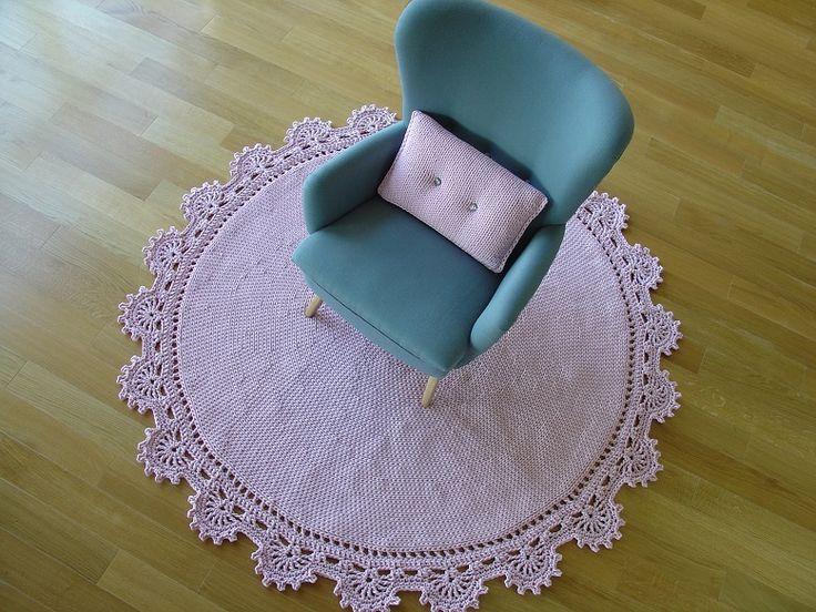 dywan z bawełnianego sznurka, pastelowy róż