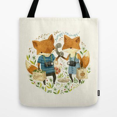 Fox Friends Tote Bag by Teagan White, via Society6