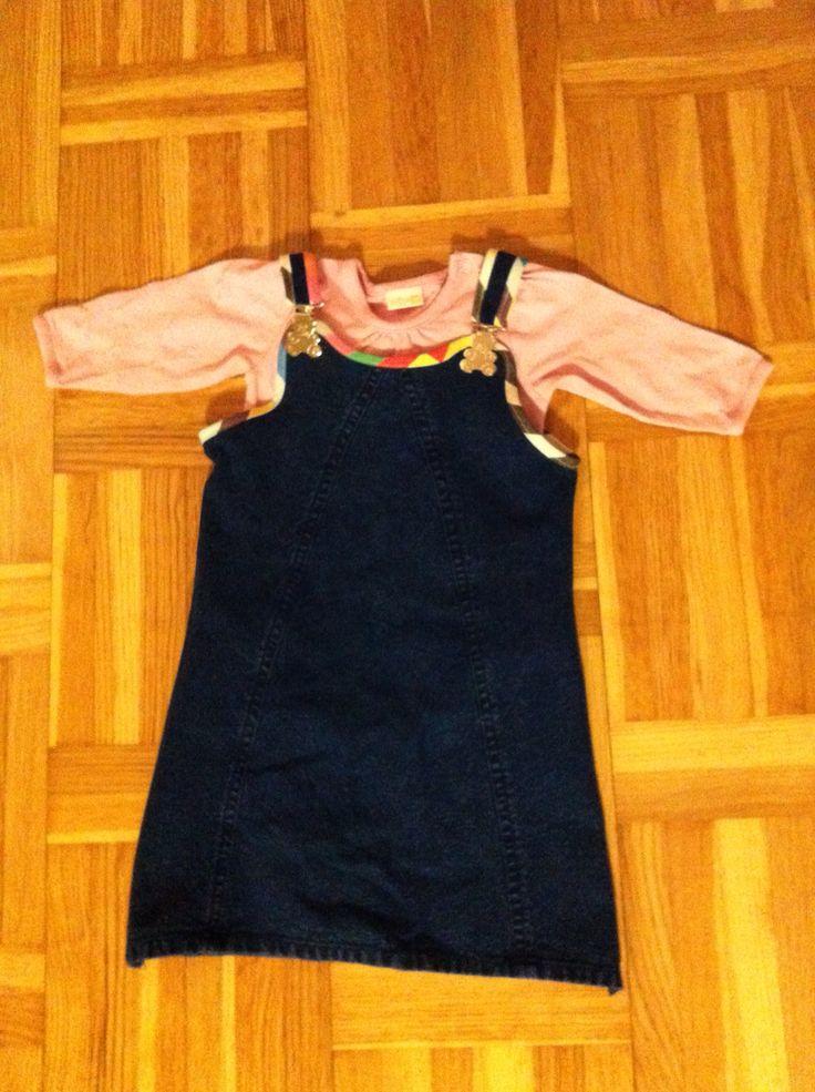 Farmors kjol fick nytt liv som klänning till lillan