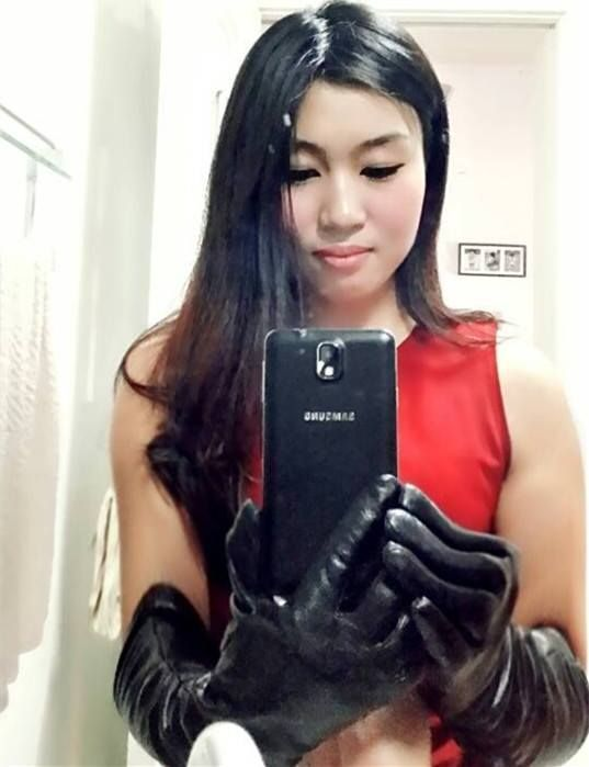asian girl in leather