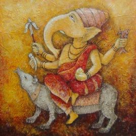 "Anirban Seth, Ganesha, Acrylic on Canvas Board, Size: 18"" X 18"", INR 19,500 / $340. #IndianArtCollectors  #Art  #PaintingsOnline  #BuyArtOnline  #AcryliconCanvasBoard  #ModernArt"
