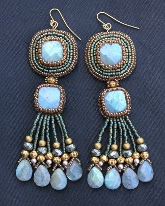 ~~Square Labradorite Fringe Earrings by Faria Siddiqui~~